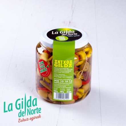 Gilda de anchoa picante presentada en su tarro de 400 g.